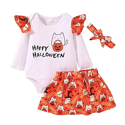 YWLINK Baby Girl My First Halloween Conjunto De Ropa Romper + Falda con Estampado De Calabaza +Venda 3pc Trajes De Calabaza De Halloween para ReciéN Nacidos
