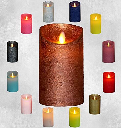 LED Echtwachskerze Kerze Farbauswahl Timer flackernde Wachskerze Kerzen Batterie, Farbe:Kupfer, Größe:15 cm