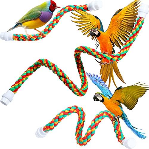 3 Perchas de Cuerda de Pájaro Percha de Cuerda Giratoria Juguete de Bungee para Pájaro que Paran para Juguetes de Loros Juguete Multicolor de Jaula de Pájaros para Guacamayos, 3 Tamaños