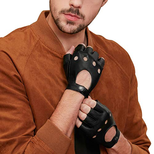 GSG Mens Fingerless Leather Gloves Driving Cycling Motorcycle Half Gloves Unlined 9.5 Black