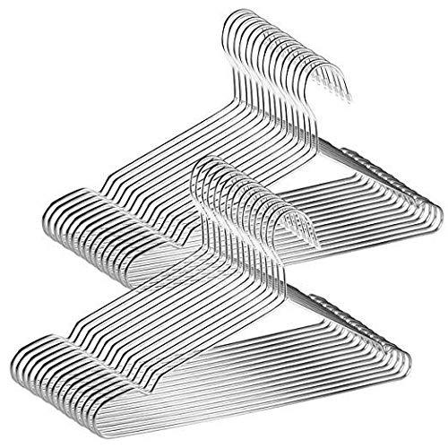 Renquen 50 Stks Roestvrij Staal Hangers Kleding Lijn te Hang Winddicht met voor kleding, Algemene Maten Zoals Handdoeken, T-Shirts en Jassen, Shirts, Sokken, Ondergoed, Jas