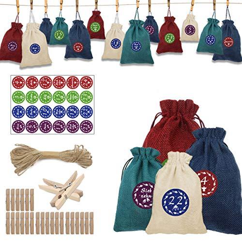 WEYON Adventskalender Zum Befüllen, 24 Jutesäckchen für Adventskalender Stoffbeutel mit Weihnachtlichen Aufklebern, 24 Miniklammern und 10m Jute Hanfseile Geschenksäckchen, Geschenktüten