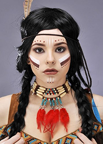 Collier de perles plume indienne Squaw