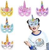BESTZY 24 Piezas Máscaras de Unicornio, Máscaras para Cumpleaños Unicorn Party, Niños Favores de la Fiesta de Cumpleaños