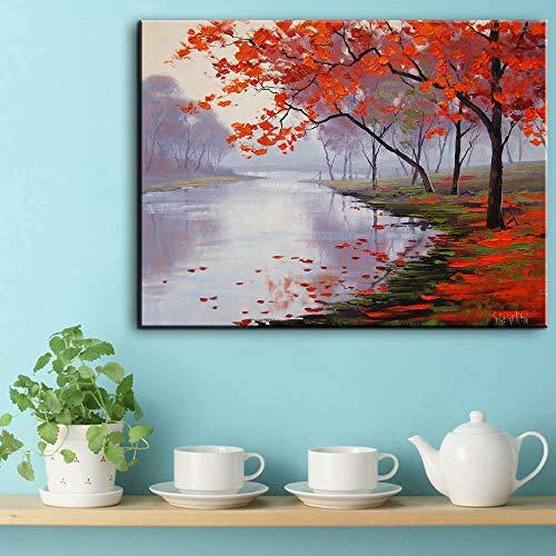 Arte de la lona de la pared Florecimiento Almendro Impresionista Pintura al...