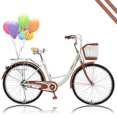 Women Bikes Beach Cruiser Bike, 26 Inch Classic Retro Bicycle Road Bikes, Single Speed Bicycle Commuter Bicycle High-Carbon Steel Frame, Front Basket, Rear Racks (Coffe)
