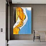 jiushice Abstrakte Zeit Fluss Leinwand Kunst Modern ng Golden Poster und Drucke Blau Gelb Wandbild für Wohnzimmer Wandbild 60x90cm