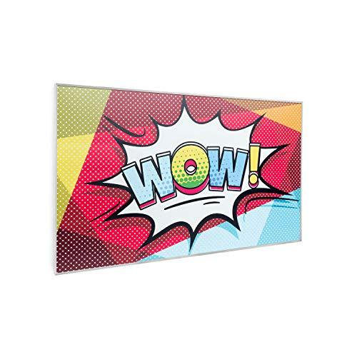 Klarstein Wonderwall Air Art - Calefactor bajo consumo, Calefaccion electrica en Panel radiante infrarrojo 600W, Cristal carbono, IR ComfortHeat, Ideal alergicos, Termostato, 60 x 101cm, Diseño WOW