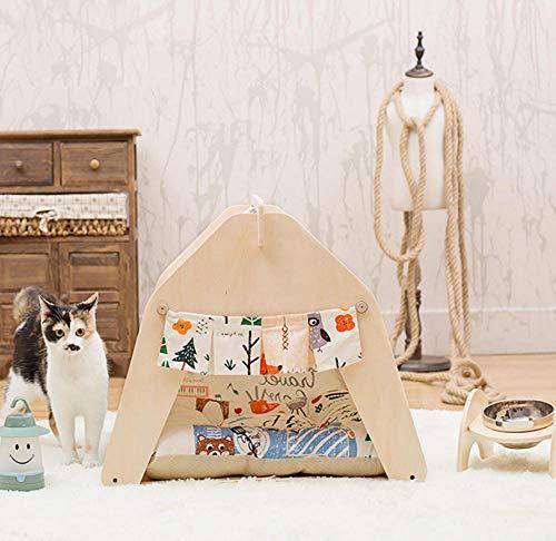 Dierbenodigdheden hoge kwaliteit houten huisdier tent hond huis huisdier huis tent houten kennel puppies liefde hond kat bed riem 50 * 50 * 60cm