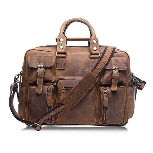 Lfives-bag Herren Laptoptasche Messenger Bags Europäische und amerikanische Retro-Leder-Gepäck-Reisetasche Männer Herrenmode Trend Einzel Schulter bewegliche Aktentasche für Arbeit und Schule