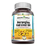 Amazing Omega Norwegian Cod Liver Oil 1250 mg 120 Softgels (Fresh Lemon Flavor)