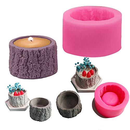 Tree Stump Flower Pot Silicone Mold Concrete Clay Succulent Planter Mold Vase Candle Holder Handmade Soap Craft Resin Tool