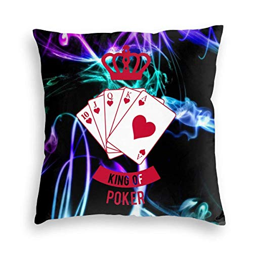 XCNGG Funda de Almohada King of Poker Throw Pillow Covers 18'X18'