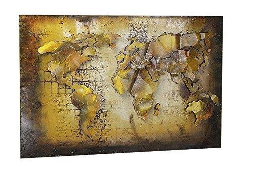 Kobolo Wandbild Wanddekoration Metallbild 3D-Bild - Weltkarte - 108x72 cm