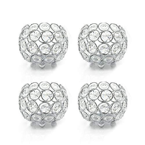 VINCIGANT Kristall Teelicht Kerzenhalter, Kerzenhalter, Hochzeit 4-teiliges Set, Haus, Tischdekoration Silber (ohne Kerzen)