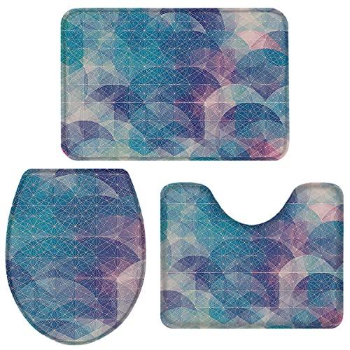 Juego de alfombras de baño de espuma viscoelástica de lujo, 3 piezas, patrón lineal azul abstracto, absorbente, antideslizante, suave, acolchado, tapa de inodoro, alfombrilla de baño, alfombrilla de c
