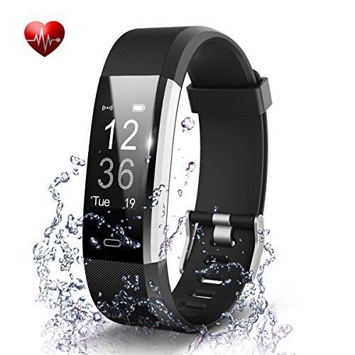 Fitness Tracker- Waterproof Activity Tracker Heart Rate Monitors Sleep Tracking Wireless Bluetooth Activity Tracker Smart Bracelet Pedometer Fitness Sports Wristbands (Black)