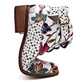 Botas Retro de Mujer Bohemia Botines de Cuero Impresión Botas de Moto Vintage Zapatos con Cordones Puntiagudos Mujeres 2019 Nuevo(Blanco,40)