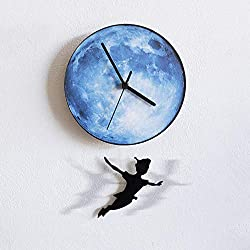 IBalody 12in Halloween Creative Moon Peter Pan Dynamic Swing Wall Clock Living Room Bedroom Children's Room Mute Pocket Watch Quartz Clock Restaurant Bar Home Business Decoration (Color : Blue)