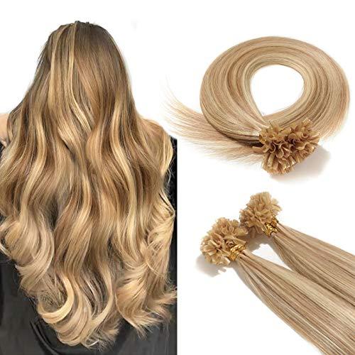 100% Remy Echthaar Extensions Bondings Haarverlängerung Keratin Bonding 100 Strähnen 40cm #12/613 hellbraun/hell-Lichtblond
