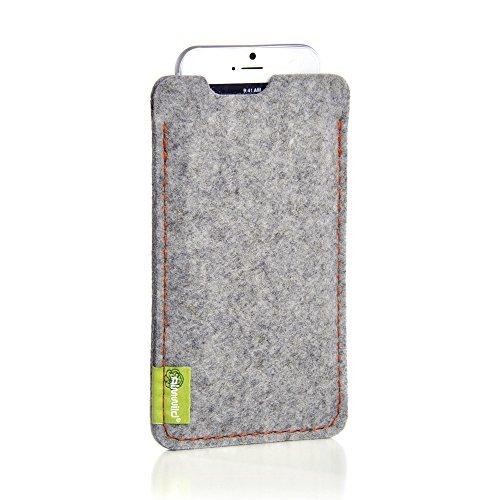 ALMWILD® Hülle,Tasche für Apple iPhone 8 Plus, 7 Plus, 6S 6 Plus MIT Apple Leder Case/Silikon Case. Aus Filz, in Alpstein- Grau. Handyhülle in Bayern handgefertigt.