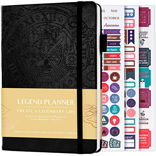 Legend Planner - Deluxe Weekly & Monthly Life Planner to Hit Your Goals & Live Happier. Organizer Notebook & Productivity Journal. A5 Hardcover, Undated - Start Any Time + Stickers - Black