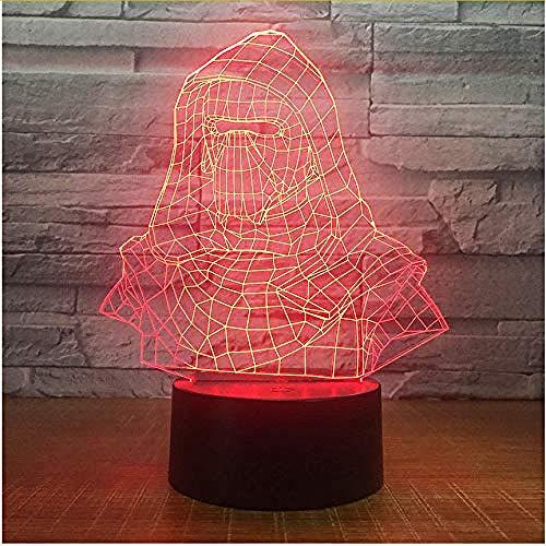 Darth Vader Helm 3D Nachtlicht Electric Illusion 3D Lampe LED 7 Farbwechsel USB Touch Desk Lampe für Kindergeschenk (DIOPCCE)