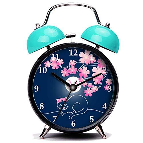 GIRLSIGHT Blauer Wecker, Nette Katze Hübsche Katze Kirschblüten Mond rosa Sakura blau Twin Bell Wecker mit Nachtlicht