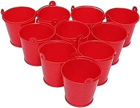 10pcs Mini Buckets Metal Iron Candy Box Bucket Wedding Party Favor Gift Bucket - Red