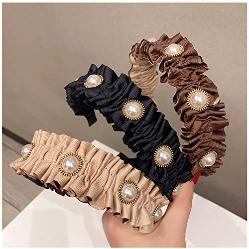 ASLKUYT Diadema de perlas de tela para mujer, accesorios para el cabello, diadema ancha para niñas, pliegues de acordeón coreano, envoltura de moda para la cabeza, 3 uds.
