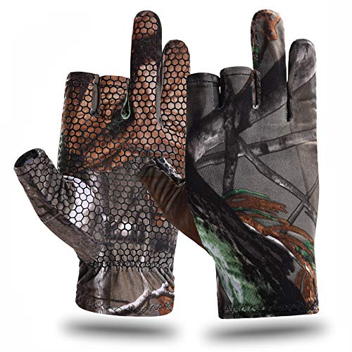 EAmber Camouflage Hunting Gloves Fingerless Gloves Pro Anti-Slip Sun Protection Lightweight Fishing Archery Accessories Hunting Outdoors