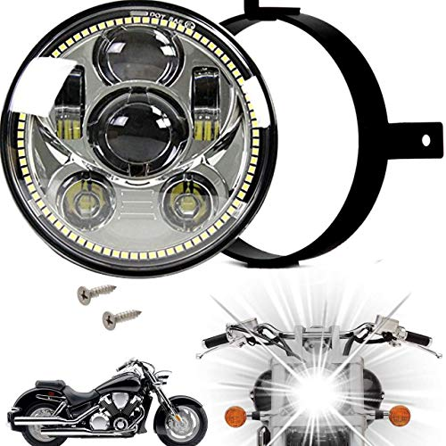 Eagle Lights 5.75 inch LED Motorcycle Headlight Kit for Honda VTX with Bracket and Hardware - Plug and Play (Chrome Generation III with Halo Ring) fits 2002-2008 VTX 1800, VTX 1300