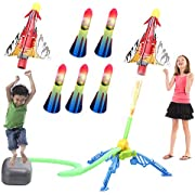 IROO Rocket Launcher Toys for Kids, Outdoor Toy with 5 LED Foam Rockets +1 Air Plane + 1 Rocket Launcher, Gifts for Birthday, Christmas, Xmas 3, 4, 5, 6, 7, 8 Year Old Boys