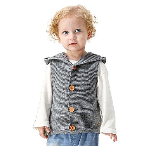 Lenfesh Baby Mädchen Jungen Gestrickt Hooded Weste Ärmellose Jacken Wintermantel Kleidung (24 Monate, Grau)