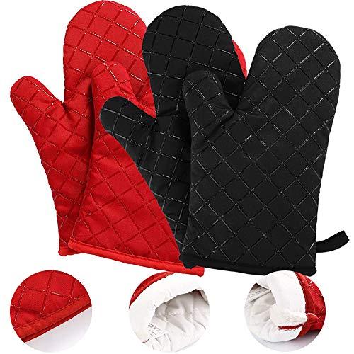 BESTZY 2 Paar Ofenhandschuhe Baumwolle Anti-Rutsch Küche Backofen Handschuhe Hitzebeständig Topfhandschuhe Topflappen Für Kochen Backen,Schwarz & Rot
