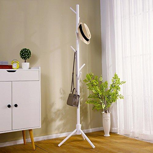 JPVGIA Perchero de pie Abrigo, Simple Percha de Madera Maciza, de Ropa del Dormitorio el Estante, Estante del hogar Sala de Estar (Color : White)