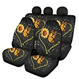 Howilath Art Heart Print Sunflower & Butterfly Flower Entire Front and Back Seat Protection for Car of 3 Full Set, You...