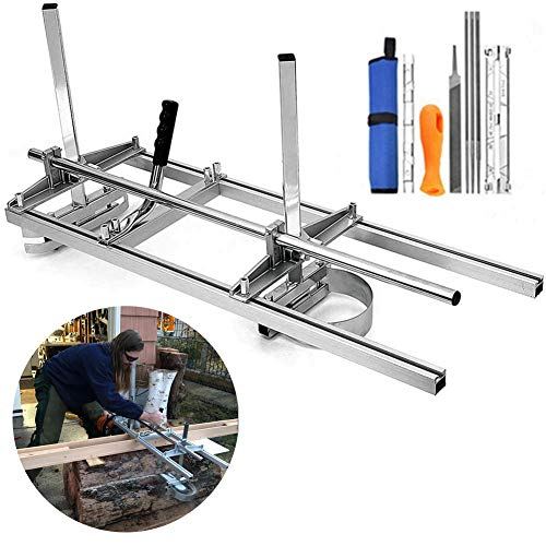 Chainsaw Mill, Portable Planking Milling 14 to 36 Inches Guide Bar Wood Lumber Cutting Sawmill with Chainsaw Sharpener File Kit & Work Gloves for Builders and Woodworkers (14' - 36')