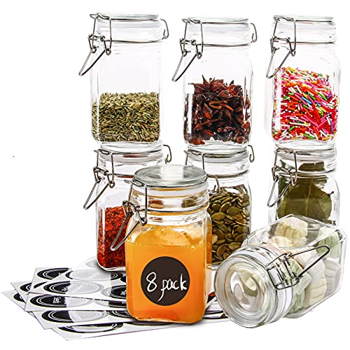 [8 Pack] 9 Ounces Glass Jars with Airtight Lids Canning Jars with Bail and Trigger Clamp Lids, Kitchen Canister set, Perfect for Preserving, Canning, Dry Food Storage-Square