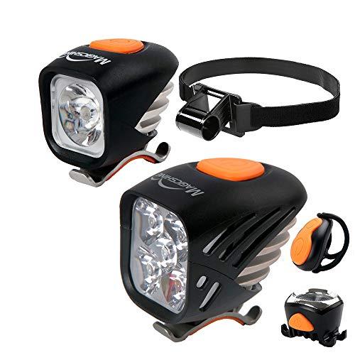 Magicshine Extreme MTB Enduro LED Bicycle Lights, Mountain Bike Lights Combo, 5000 Max Lumen Handlebar Light, 1200 Max Lumen Cree Headlamp with Helmet Strap Enduro Trail Offroad