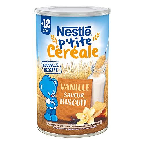 Nestlé Bébé P'tite Céréale Biscuité Vanille - Céréales déshydratées dès 12 mois - Boîte de 400g - Pack de 12 boites