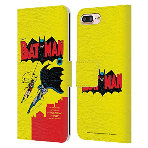 Head Case Designs Oficial Batman DC Comics Número 1 Fundas de cómics Famosas Carcasa de Cuero Tipo Libro Compatible con Apple iPhone 7 Plus/iPhone 8 Plus