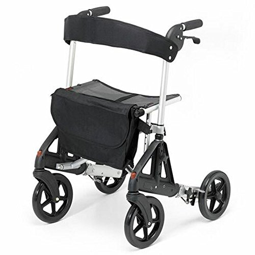 Days Fortis 4 Wheel Rollator with Adjustable Seat, Silver, Compact Size Or Standing Position, Quick Release Front Wheels, Kerb Climber, Elderly, Disabled (Eligible for VAT exemption in the UK)