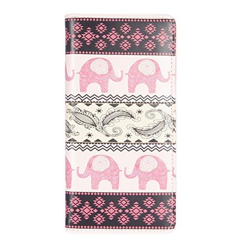 Shagwear ® Portemonnaie Geldbörse Damen Geldbeutel Mädchen Bifold Mehrfarbig Portmonee Designs: (Elefantenoptik Rosa/Tribal Elephant Pattern)