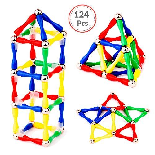 B.Great LTD Magnetic Sticks and Balls Building Toys - 124 Pcs Magnetic construction set - 3D Shapes Educational STEM Games - Magnets for Kids