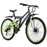 KS Cycling Mixte - Vélo VTT Fully 26' Root One Vert Noir RH 46cm 26'