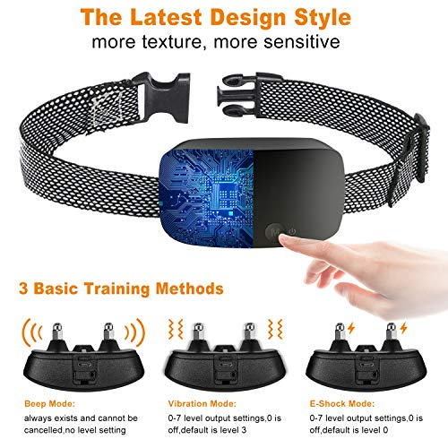 NBJU Bark Collar for Dogs,Rechargeable Anti Barking Training Collar with 7 Adjustable Sensitivity and Intensity Beep Vibration for Small Medium Large Dogs (Black)