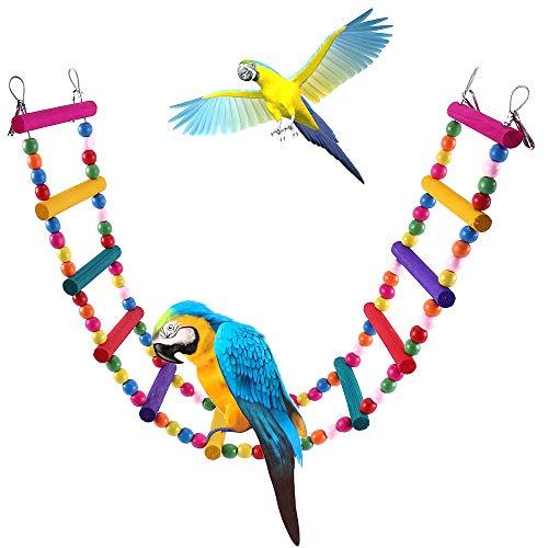 Stronghigheu hout klimmen ladder speelgoed 12 stap flexibele ladders houten regenboog brug schommels voor papegaaien huisdier training