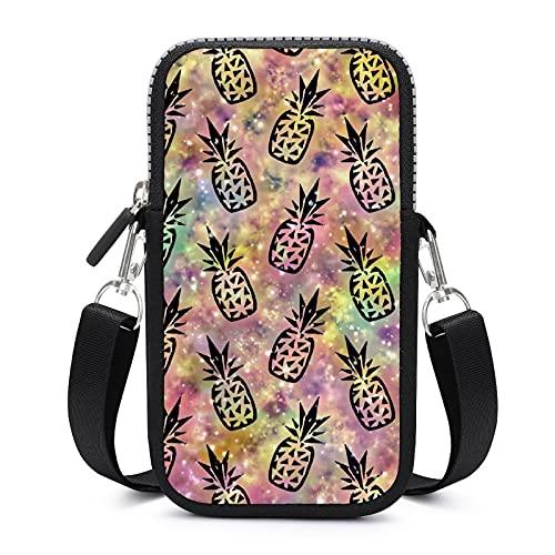 Bolso bandolera para teléfono móvil con correa de hombro extraíble Piñas Glitters Anti-caída funda para llavero brazalete cartera Yoga Bolsas Unisex