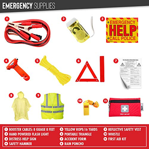 Thrive Car Emergency Kit with Jumper Cables + First Aid Kit | Auto Emergency Kit  Massachusetts